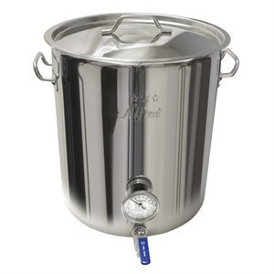 10.5 G / 42 Qt /  40 L Heavy Duty 201 Stainless Steel Kettle with Ball Valve & Thermometer